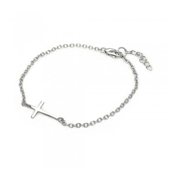 Sterling Silver Small Sideways Cross Bracelet SBGB00110