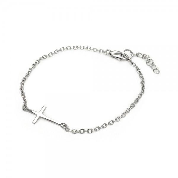 Sterling Silver Small Sideways Cross Bracelet SBGB00110