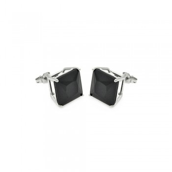 Sterling Silver Black Square Stud Earrings SSTE00691BLK-7MM