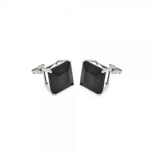 Sterling Silver Black Square Stud Earrings SSTE00691BLK-7MM
