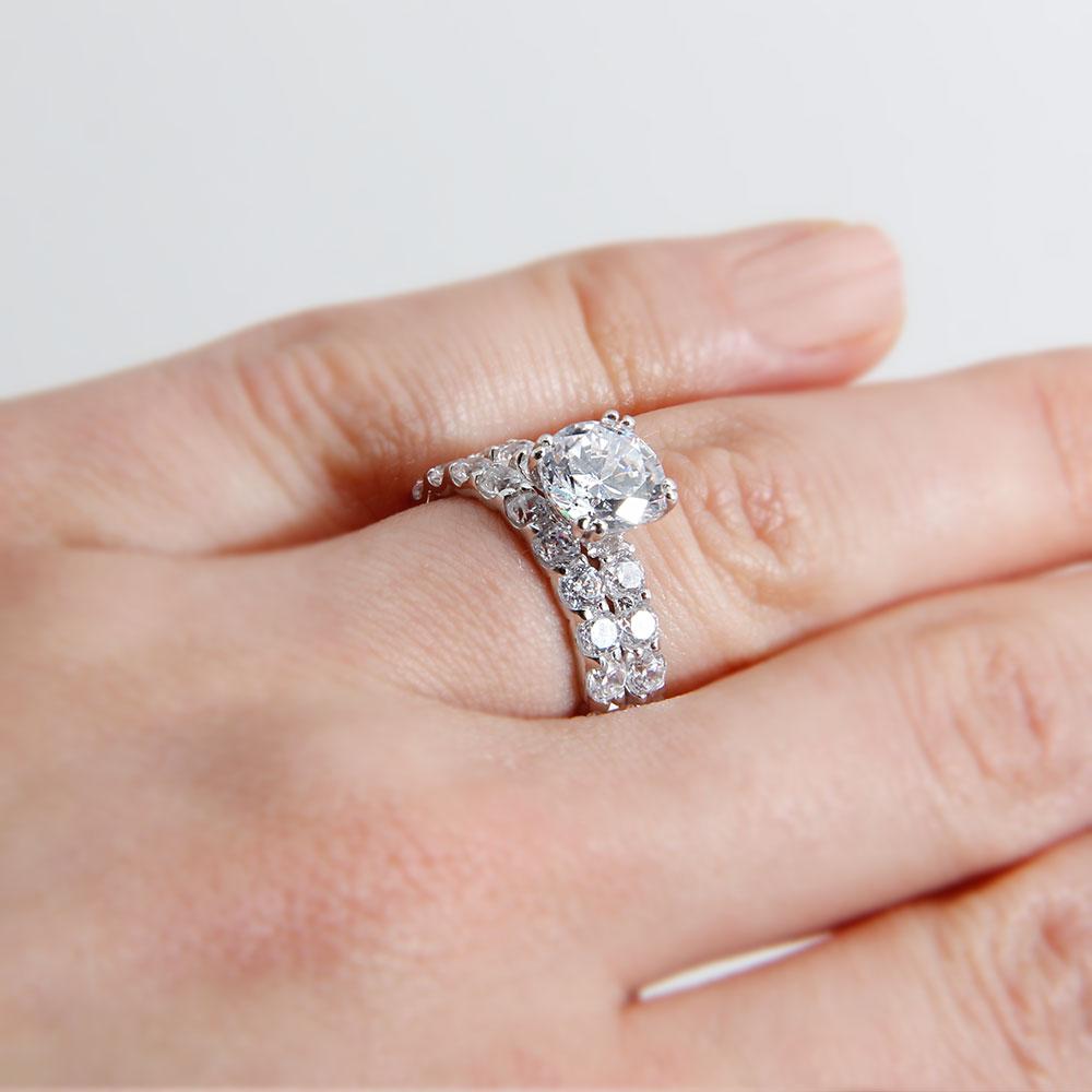 Sterling Silver Square Center CZ Bridal Ring Set SBGR00212