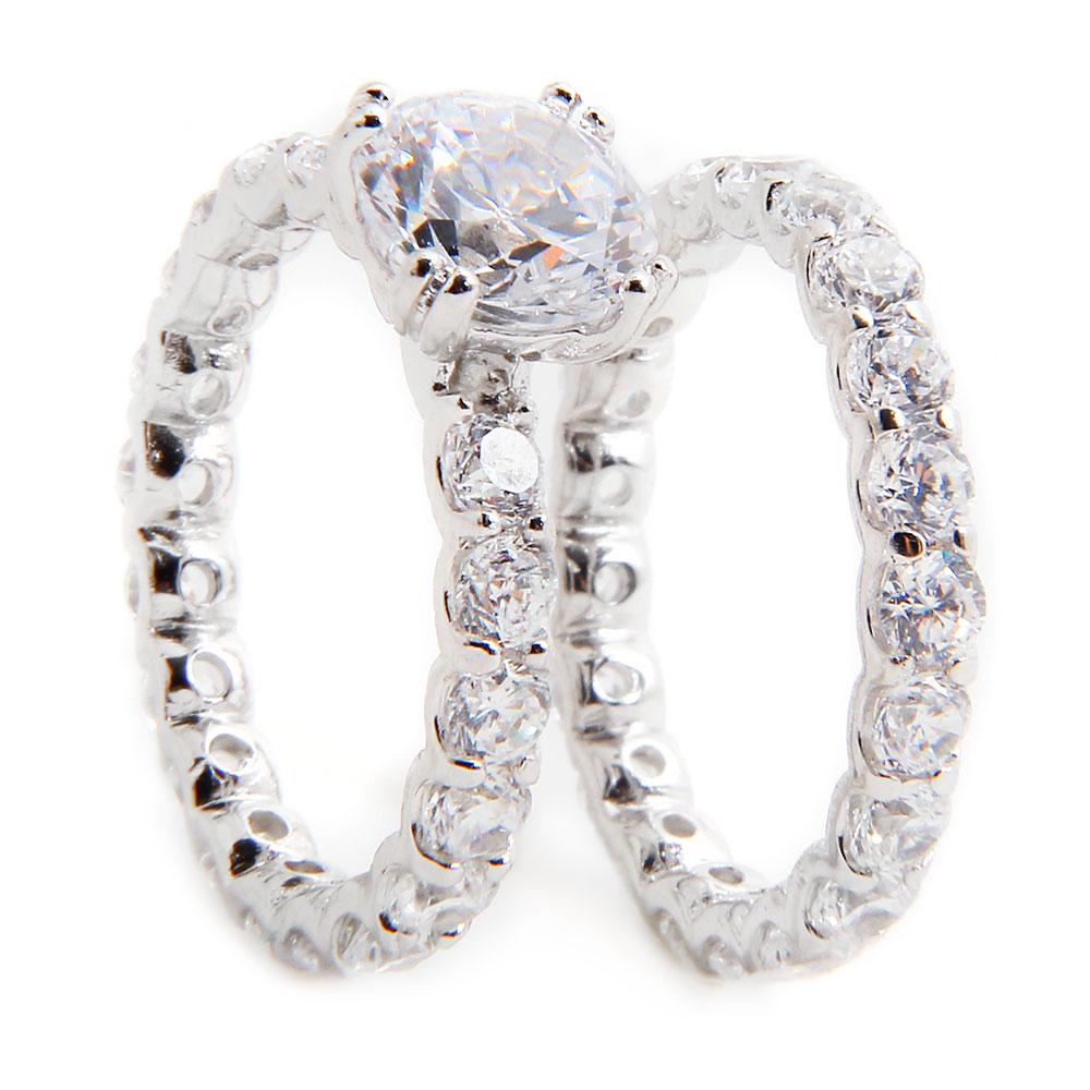 sterling silver square center cz bridal ring set sbgr00212. Black Bedroom Furniture Sets. Home Design Ideas