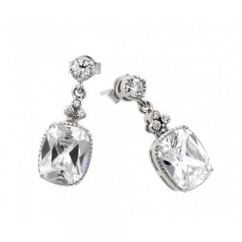 Sterling Silver Square CZ Drop Earrings SBGE00381