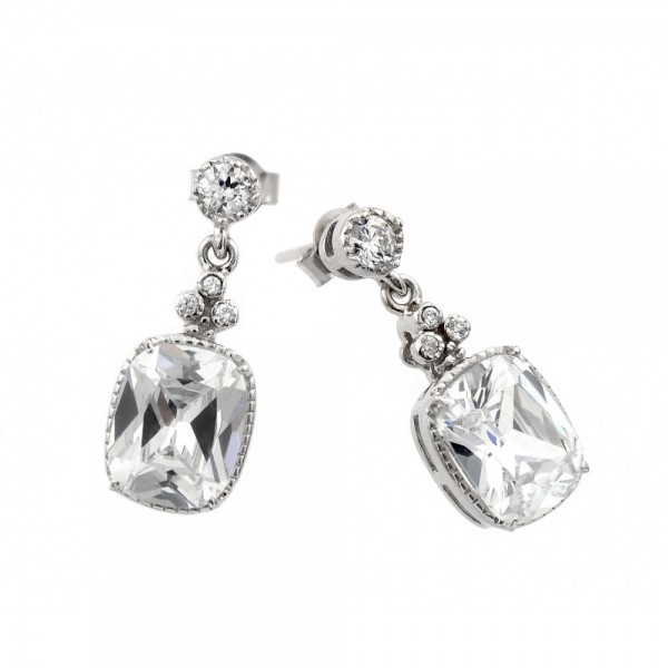 Sterling Silver Square CZ Drop Earrings SBGE00381