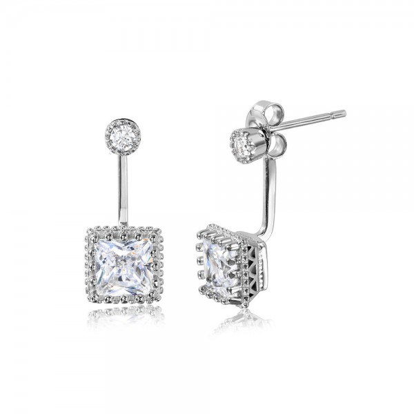 Sterling Silver Square Jacket Earrings SSTE01043