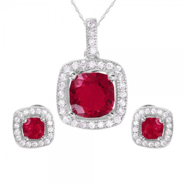 Sterling Silver Red Square CZ Earring and Necklace Set SGMS00020RH-RUBY