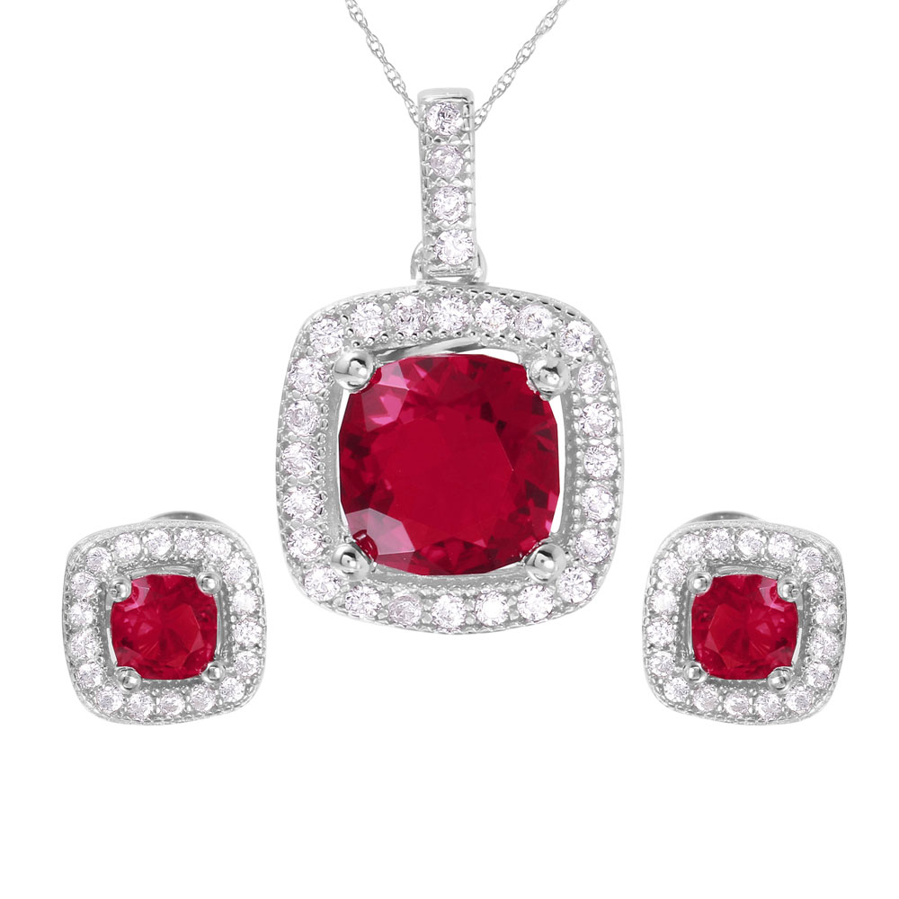 Red Ruby Sparkle Pendant Jewelry Set