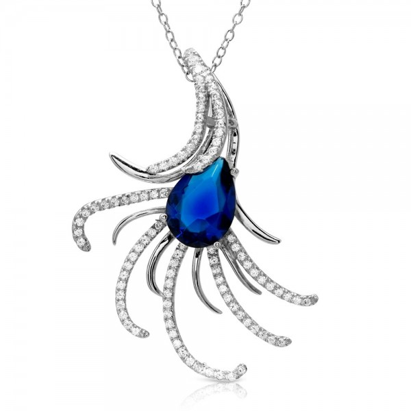 Sterling Silver Swirl CZ Necklace With Large Blue CZ SBGP01173