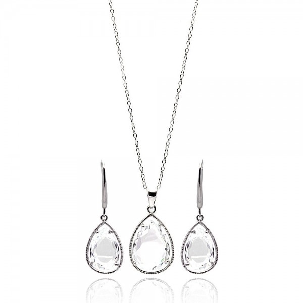 Sterling Silver Clear CZ Teardrop Earring and Necklace Set SSTS00252