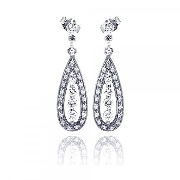 Sterling Silver Teardrop CZ Drop Earrings SSTE00660