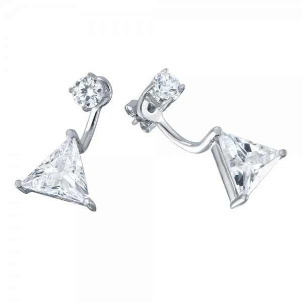 Sterling Silver Triangle Jacket Earrings SBGE00457