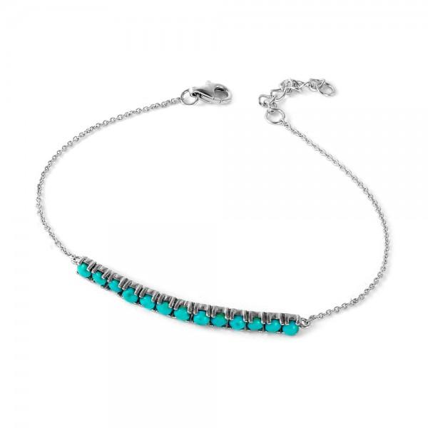 Sterling Silver Turquoise Bar Bracelet SSTB00515