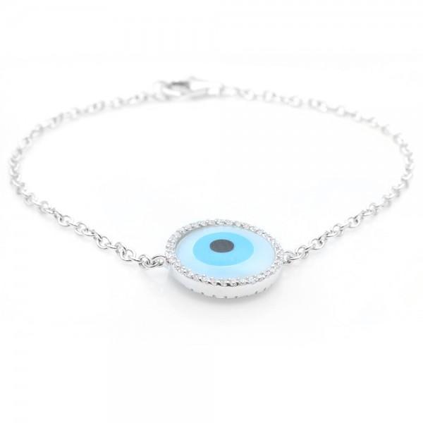 Sterling Silver Turquoise Evil Eye Bracelet SBGB00069