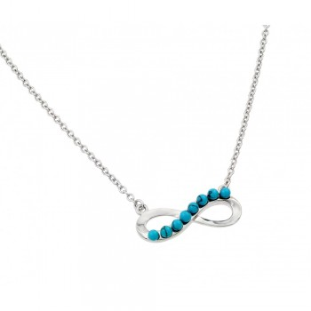 Sterling Silver Turquoise Infinity Pendant Necklace SBGP00898TQ