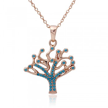 Sterling Silver Turquoise Stones Tree Necklace SSTP01549