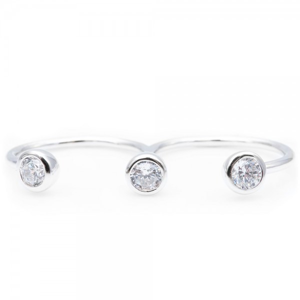Sterling Silver CZ Two Finger Ring SBGR00936