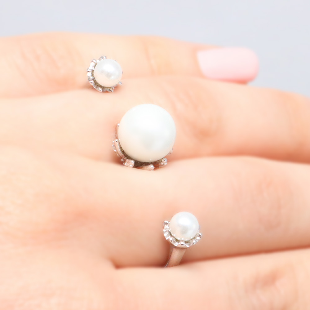 Sterling Silver Two Finger Pearl Ring SBGR00981