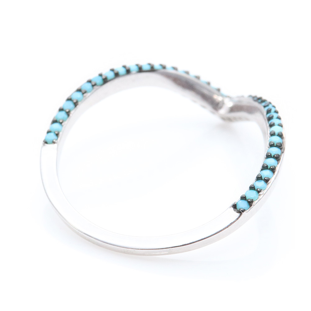 Sterling Silver V Ring with Turquoise Stones SSTR01054
