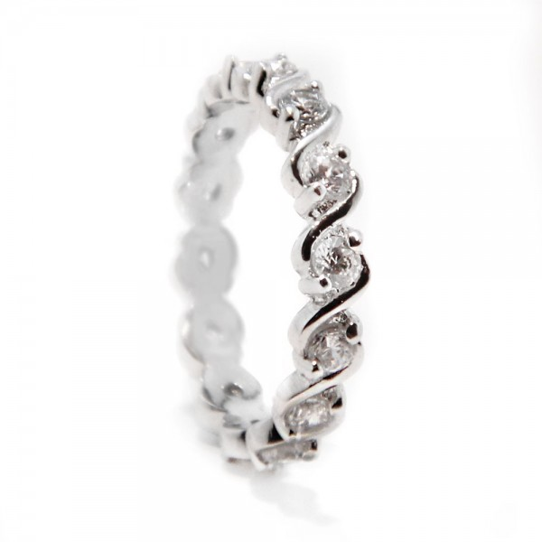 Sterling Silver Wave Eternity Band SBGR00364