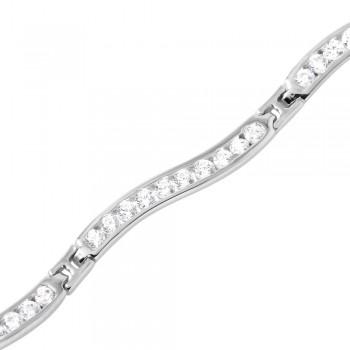 Sterling Silver Wavy CZ Bracelet SGMB00023RH