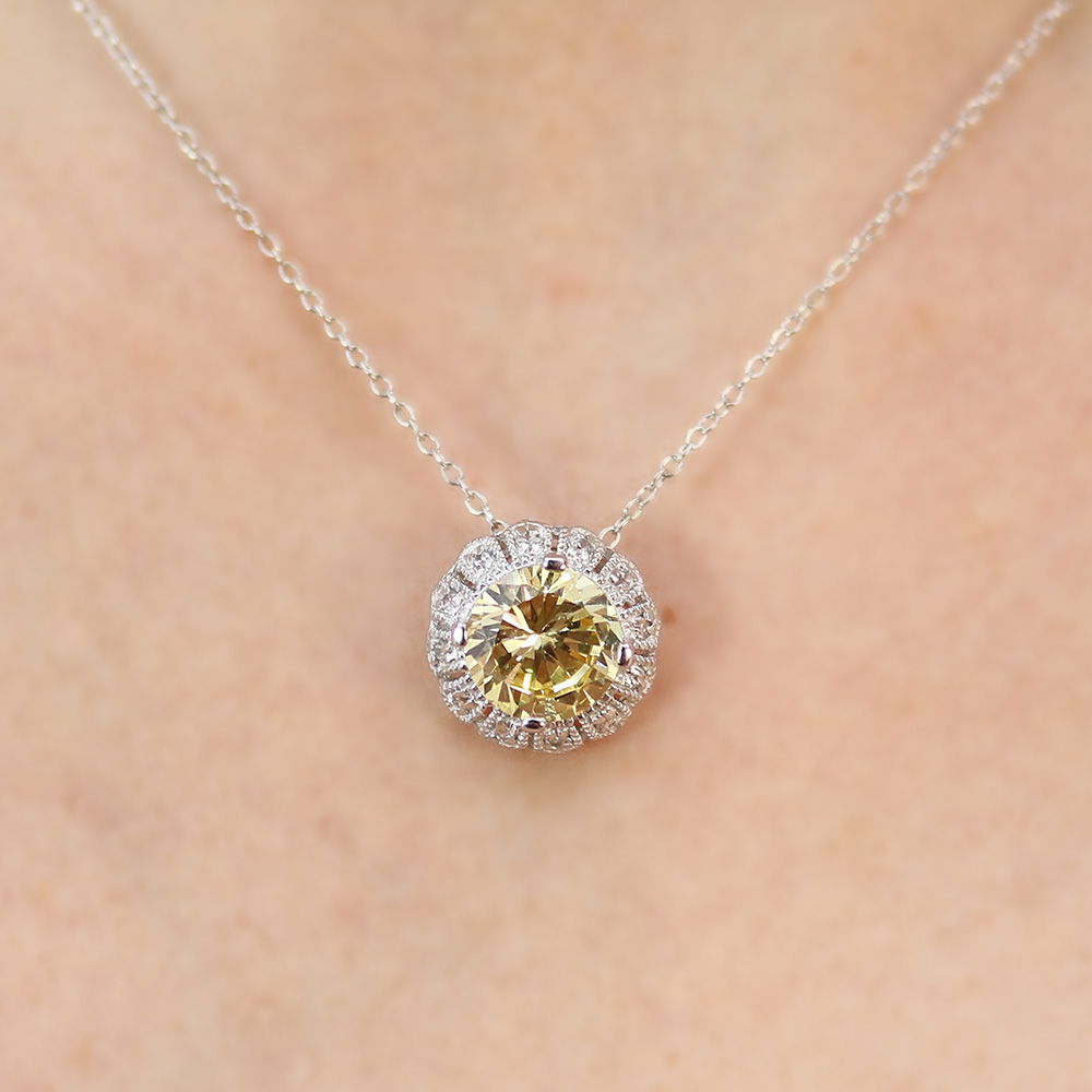 Sterling Silver Yellow CZ Flower Pendant Necklace SSTP00100