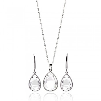 Sterling Silver Rhodium Plated Teardrop Clear CZ Dangling Set - STS00252CLR