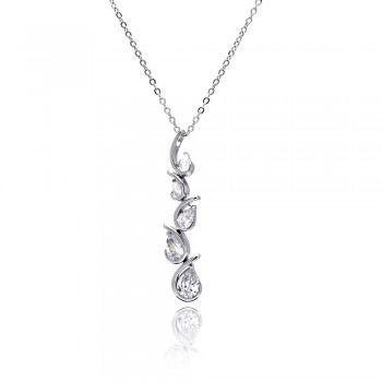 Sterling Silver Clear CZ Teardrop Wave Pendant Necklace SBBP00032