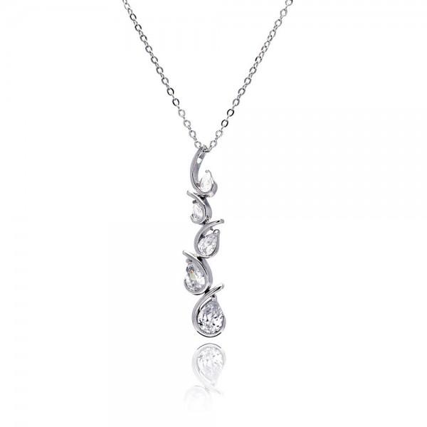 Sterling Silver Clear CZ Teardrop Wave Pendant Necklace SBBP00032
