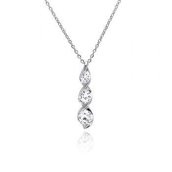 3 Clear CZ Twisted Pendant Necklace SBBP00031