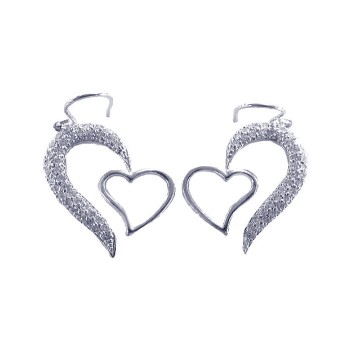 Sterling Silver Rhodium Plated Half Heart CZ Heart Hook Earring ste00082