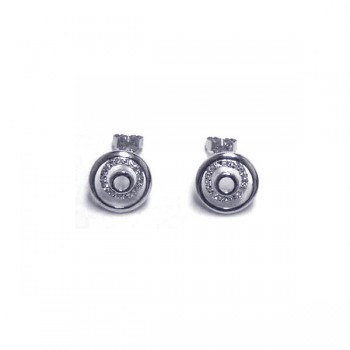 Sterling Silver Rhodium Plated Round CZ Stud Earring ste00087