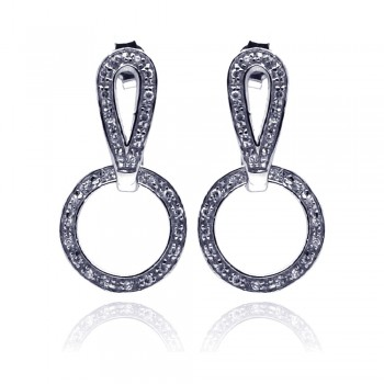 Sterling Silver Rhodium Plated Two Piece Round Movable CZ Dangling Earring ste00099