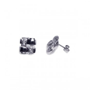Sterling Silver Rhodium Plated Weaved Square CZ Stud Earring ste00149