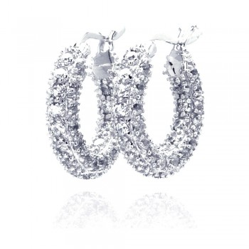 Sterling Silver Rhodium Plated Rift Cluster CZ Hoop Earring ste00203