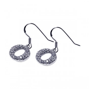 Sterling Silver Rhodium Plated Round Oval CZ Dangling Hook Earring ste00245