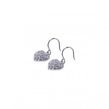 Sterling Silver Rhodium Plated Heart Cluster CZ Dangling Hook Earring ste00276