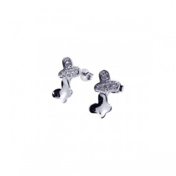 Sterling Silver Rhodium Plated Two Wavy Flat Butterfly CZ Stud Earring ste00281