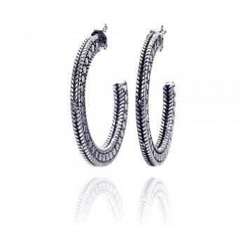 Sterling Silver Rhodium Plated Braded Stud Earring ste00413