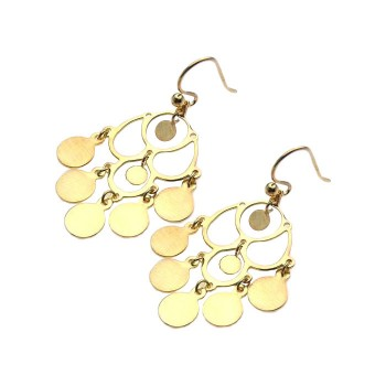 Sterling Silver Gold Rhodium Plated Flat Round Chandelier Hook Earring ste00583