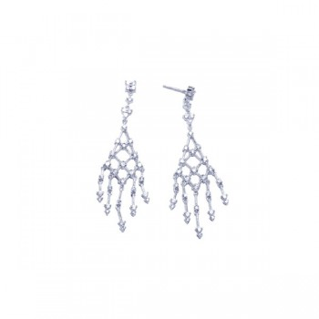 Sterling Silver Rhodium Plated Web Clear CZ Chandelier Stud Earring ste00607