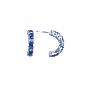 Sterling Silver Rhodium Plated Crescent Blue Baguette CZ Huggie Earrings - STE00612
