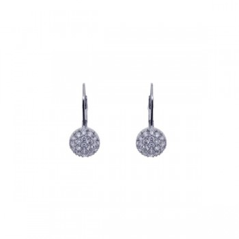 Sterling Silver Rhodium Plated Round CZ Huggie Earrings - STE00617