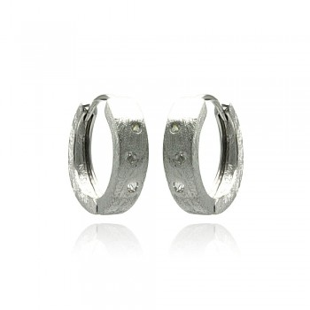 Sterling Silver Rhodium Plated Round CZ Huggie Earrings - STE00621