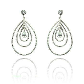 Sterling Silver Rhodium Plated Round Teardrop CZ Dangling Stud Earring ste00653