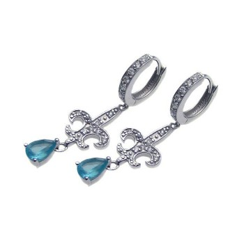 Sterling Silver Rhodium Plated Blue Teardrop CZ Fleur De Lis Dangling Huggie Earrings - STE00654