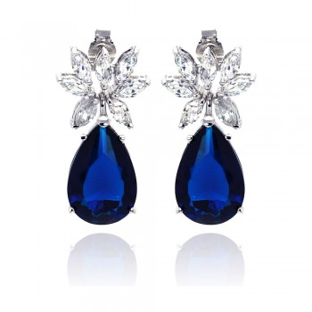 Sterling Silver Rhodium Plated Blue & Clear Marquise CZ Dangling Stud Earring STE00659BLUE