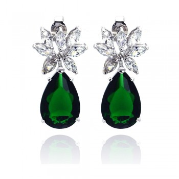 Sterling Silver Rhodium Plated Teardrop Green & Clear CZ Dangling Stud Earring STE00659GREEN