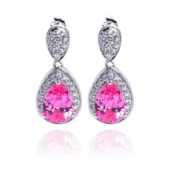 Sterling Silver Rhodium Plated Pink Teardrop & Clear CZ Dangling Stud Earring ste00670