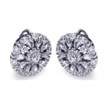 Sterling Silver Rhodium Plated Round Flower Clear CZ Stud Earring ste00725