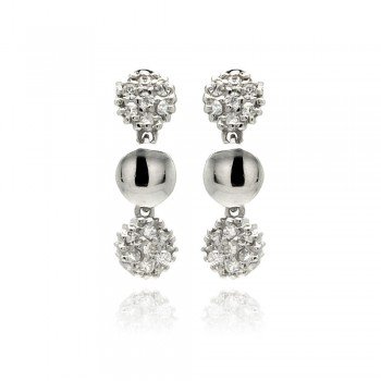 Sterling Silver Rhodium Plated Round Cluster CZ Dangling Stud Earring ste00882